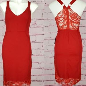 NWT Velvet Torch Red Bodycon Lace Dress